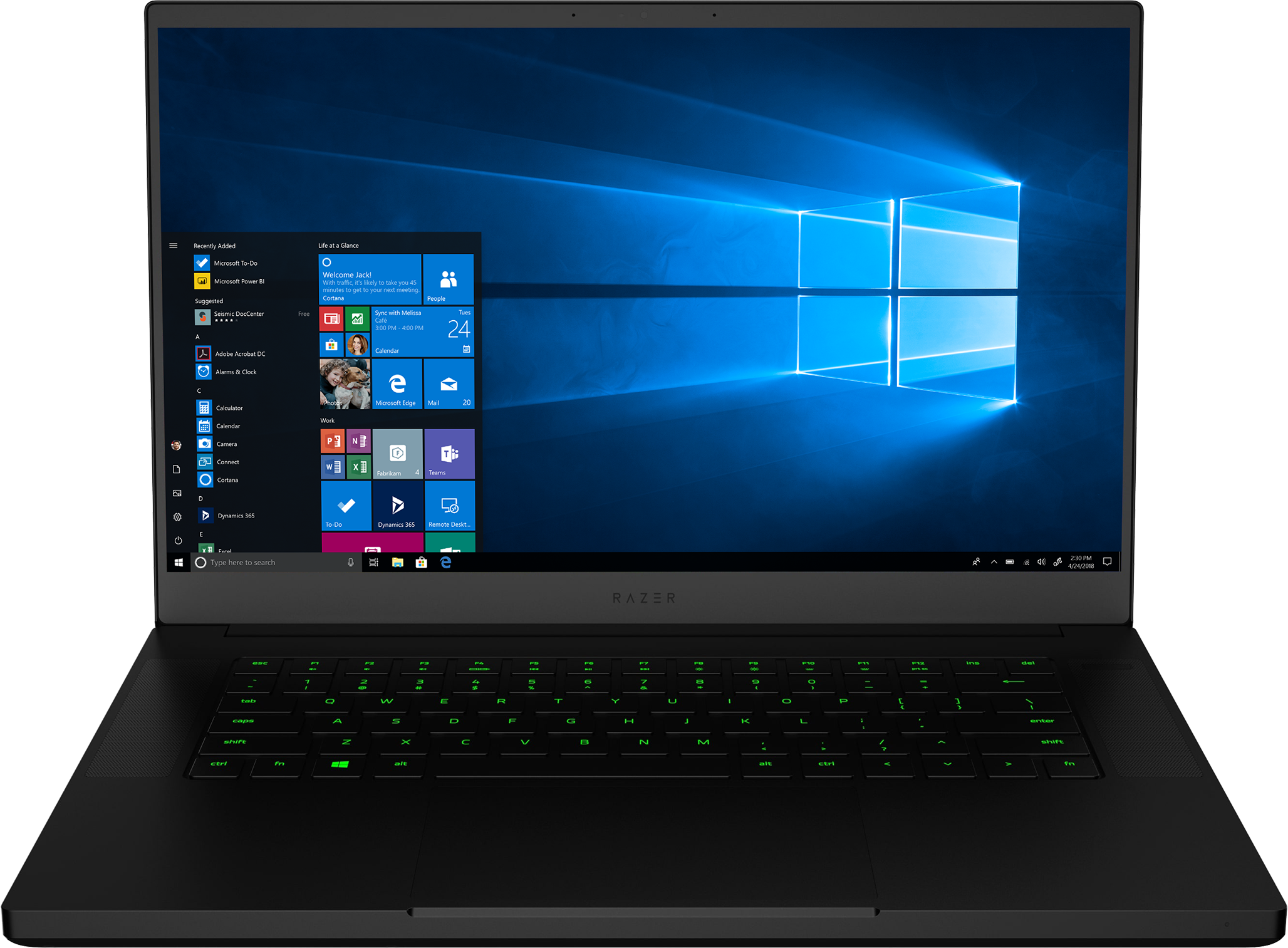 A front view of a Razer Blade 15 gaming laptop with Windows screen fill