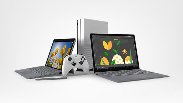 Xbox One S console, Surface Pro, Surface Laptop