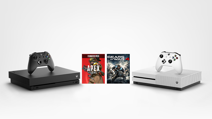 Xbox One X and Xbox One S consoles with Apex Legends and Gears of War 4 for Xbox One.