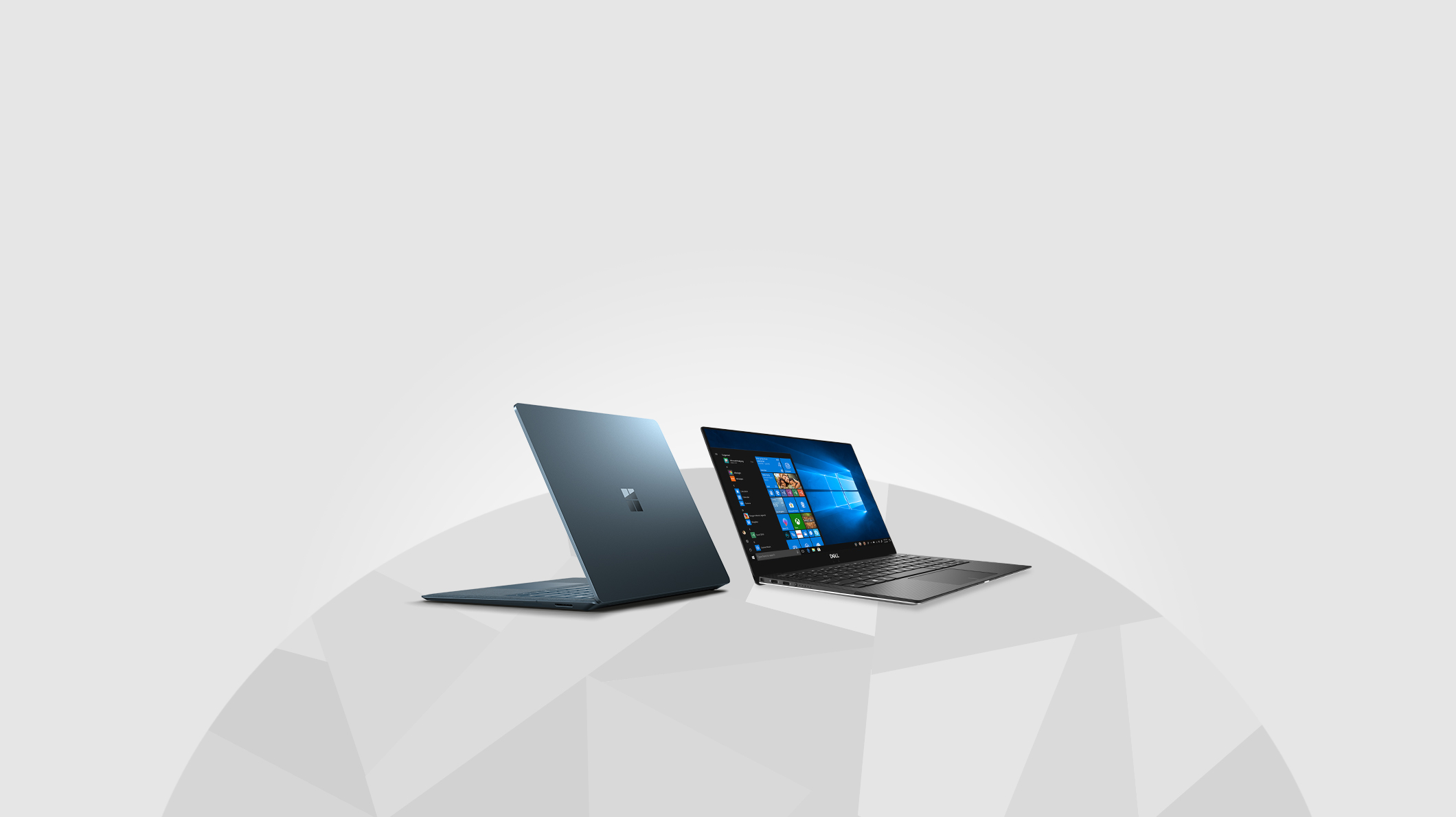 A Cobalt Surface Laptop 2 and a Dell XPS 13