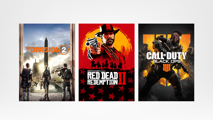 Games The Division 2, Red Dead Redemption II, and Crackdown 3