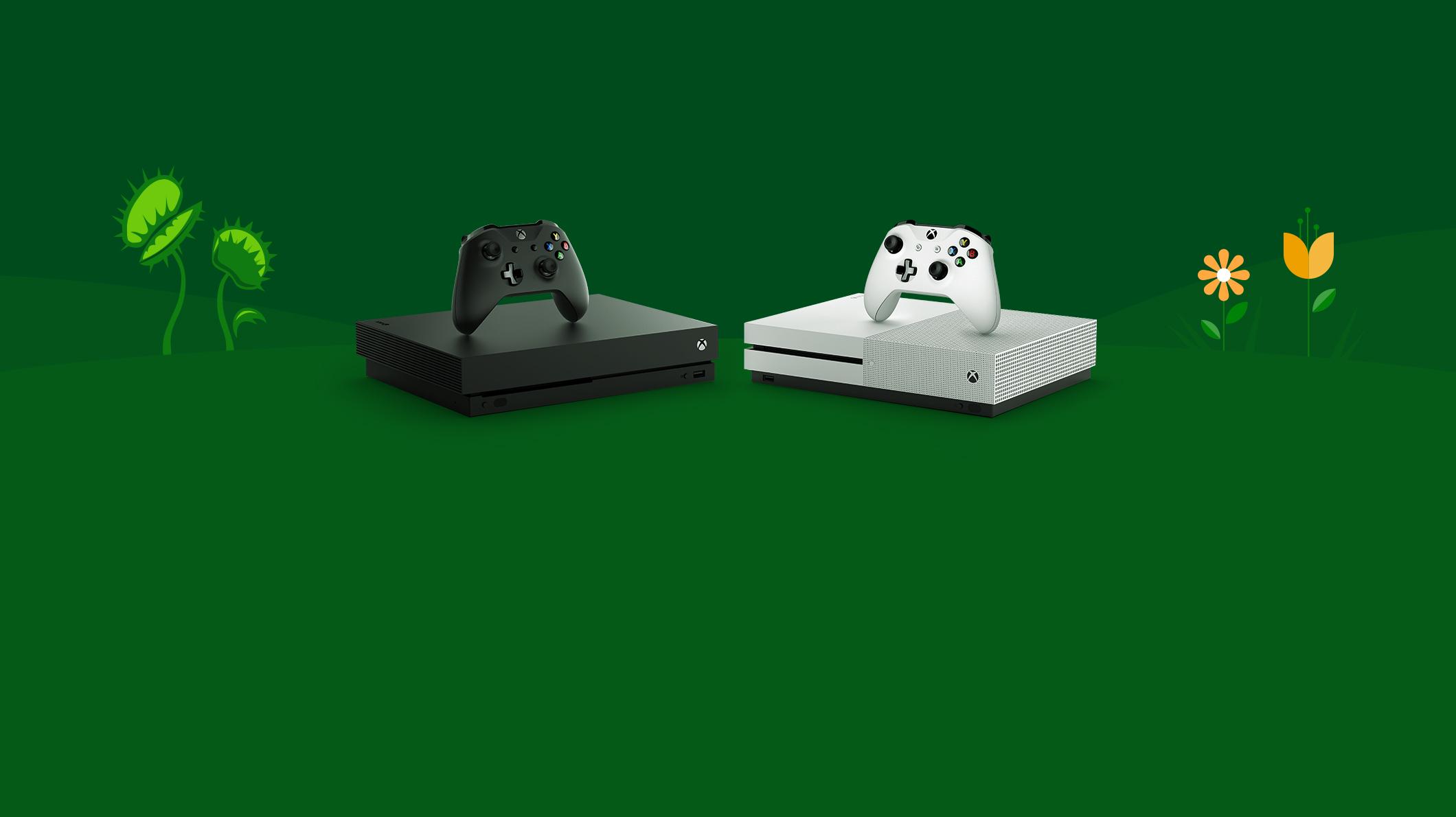 Xbox One X a Xbox One S se dvěma řadiči