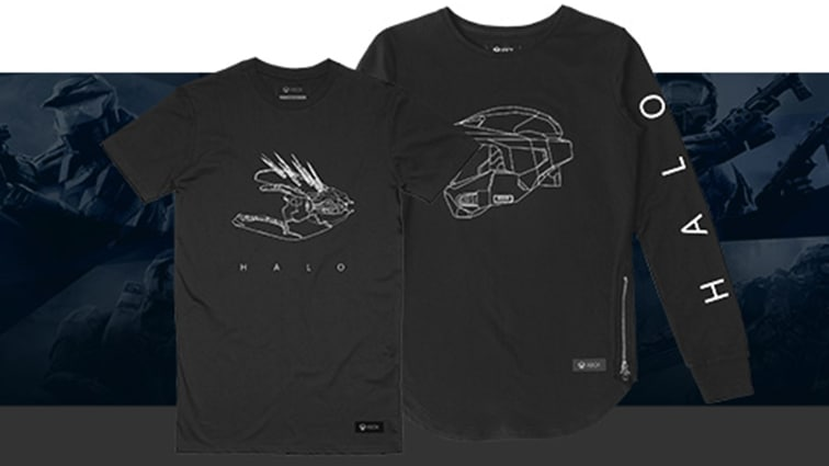 b01cee3d559 A Halo t-shirt and long-sleeved shirt pictured over a dark blue collage