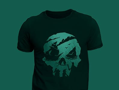 A collection of rotating Sea of Thieves-themed products behind the Sea of Thieves logo