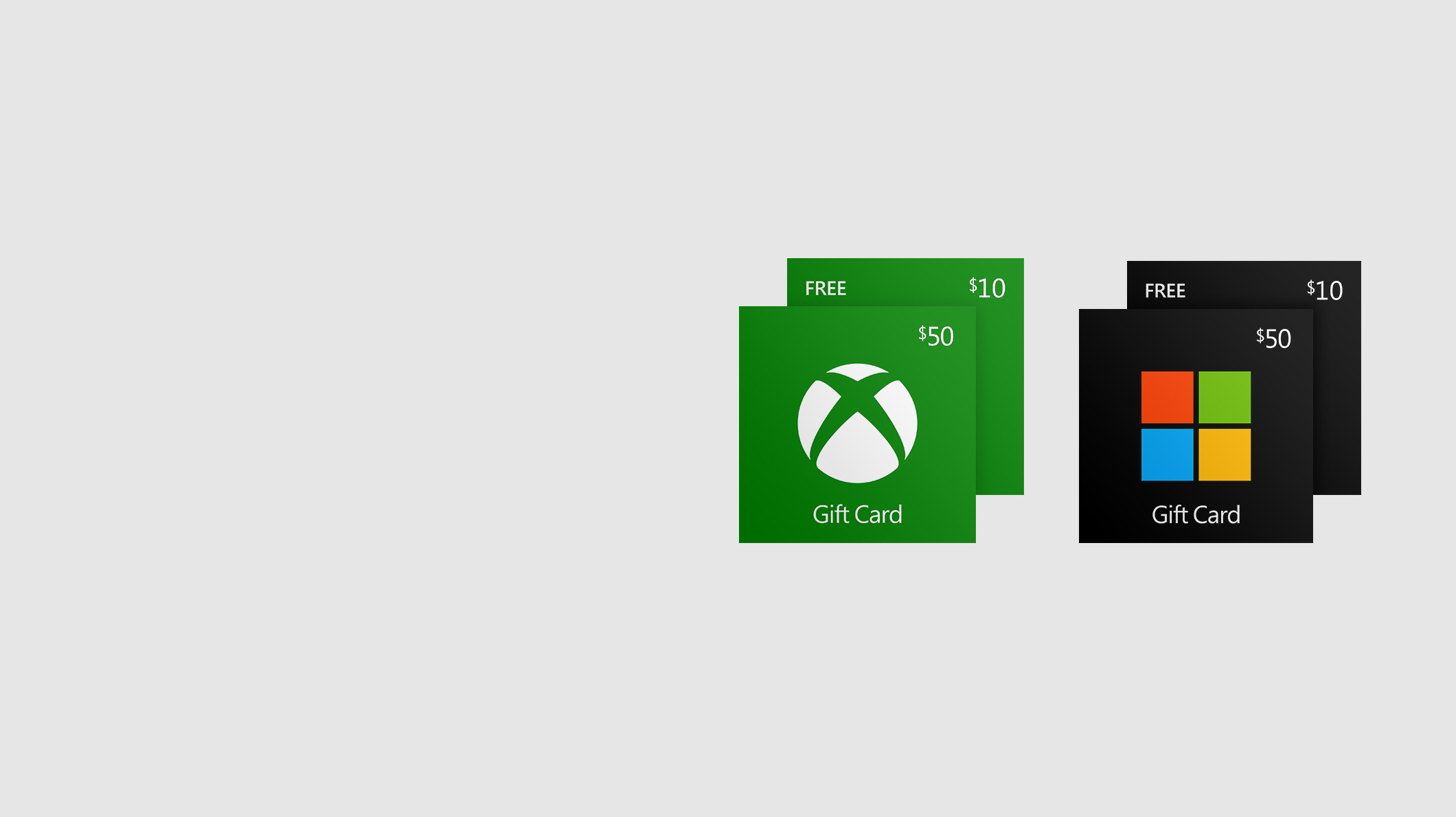 A $50 Xbox Gift Card in front of a free $10 value Xbox Gift Card, and a $50 Microsoft Gift Card in front of a free $10 value Microsoft Gift Card.