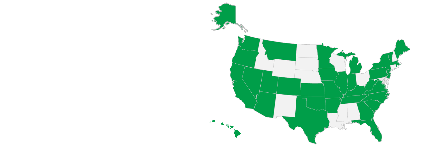 A map of the United States featuring all states with CJIS management agreements highlighted in green.