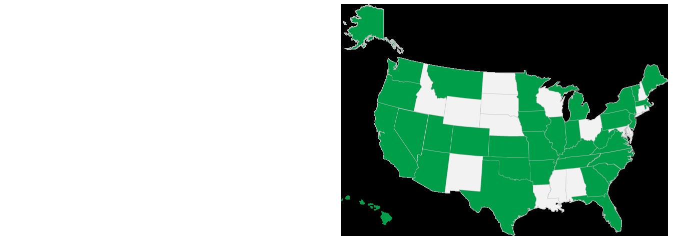 米国のすべての州を表す地図。CJIS 管理協定を結んでいる州が緑色で表示されています。