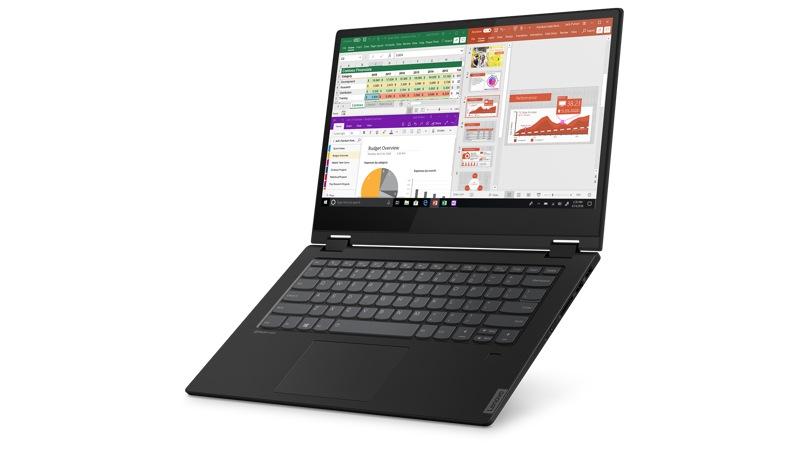 Vue avant droite du Lenovo Flex14 ouvert incliné vers le haut en mode ordinateur portable