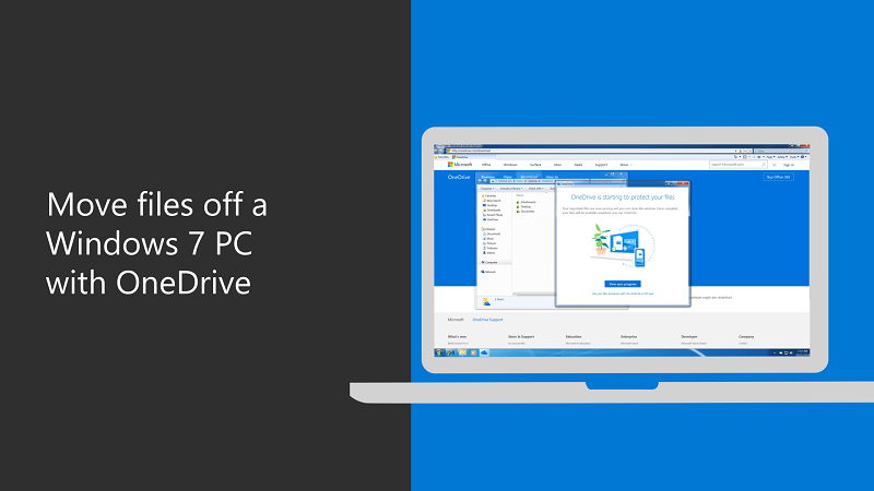Move files off a Windows 7 PC with OneDrive