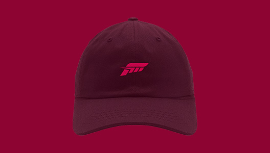 A collection of rotating Forza-themed products behind the Forza logo