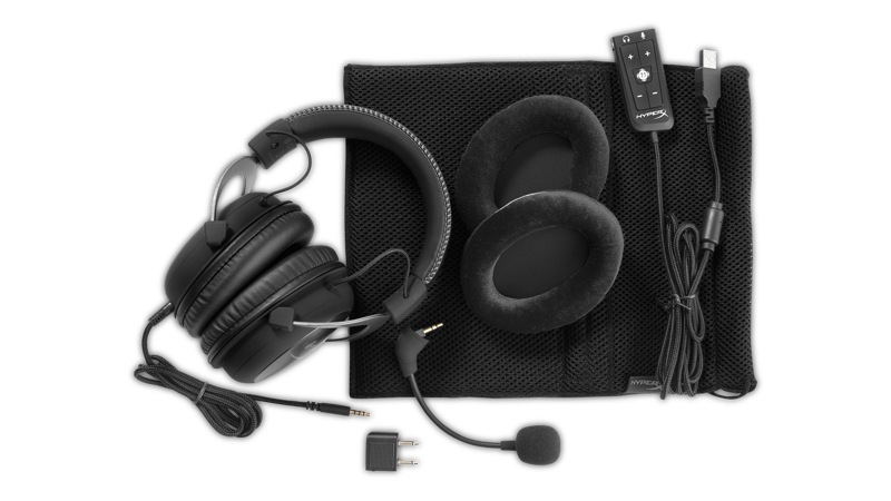 Kingston HyperX Cloud II Gaming Headset in Gun Metal with all its components
