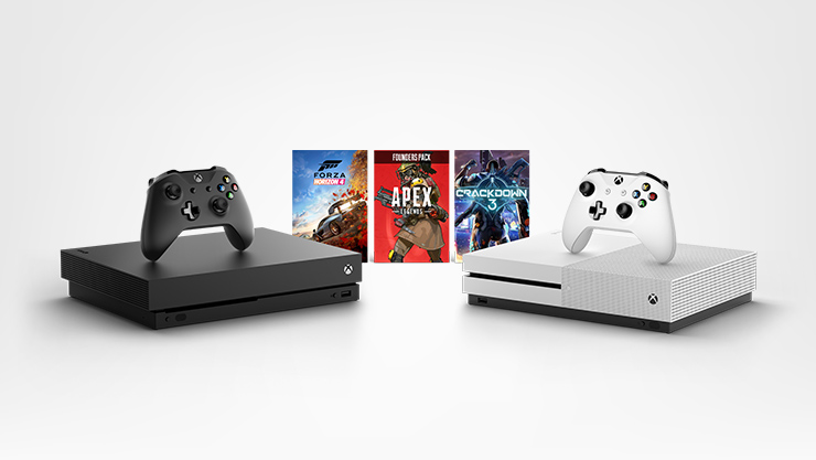 Xbox One X console, Xbox One S console, Apex Legends Founders Pack, Forza Horizon 4, Crackdown 3