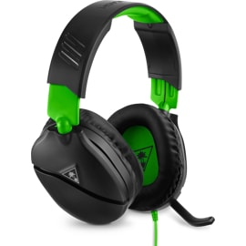 Left front view of black Turtle Beach Recon 70 headset with mic flipped down