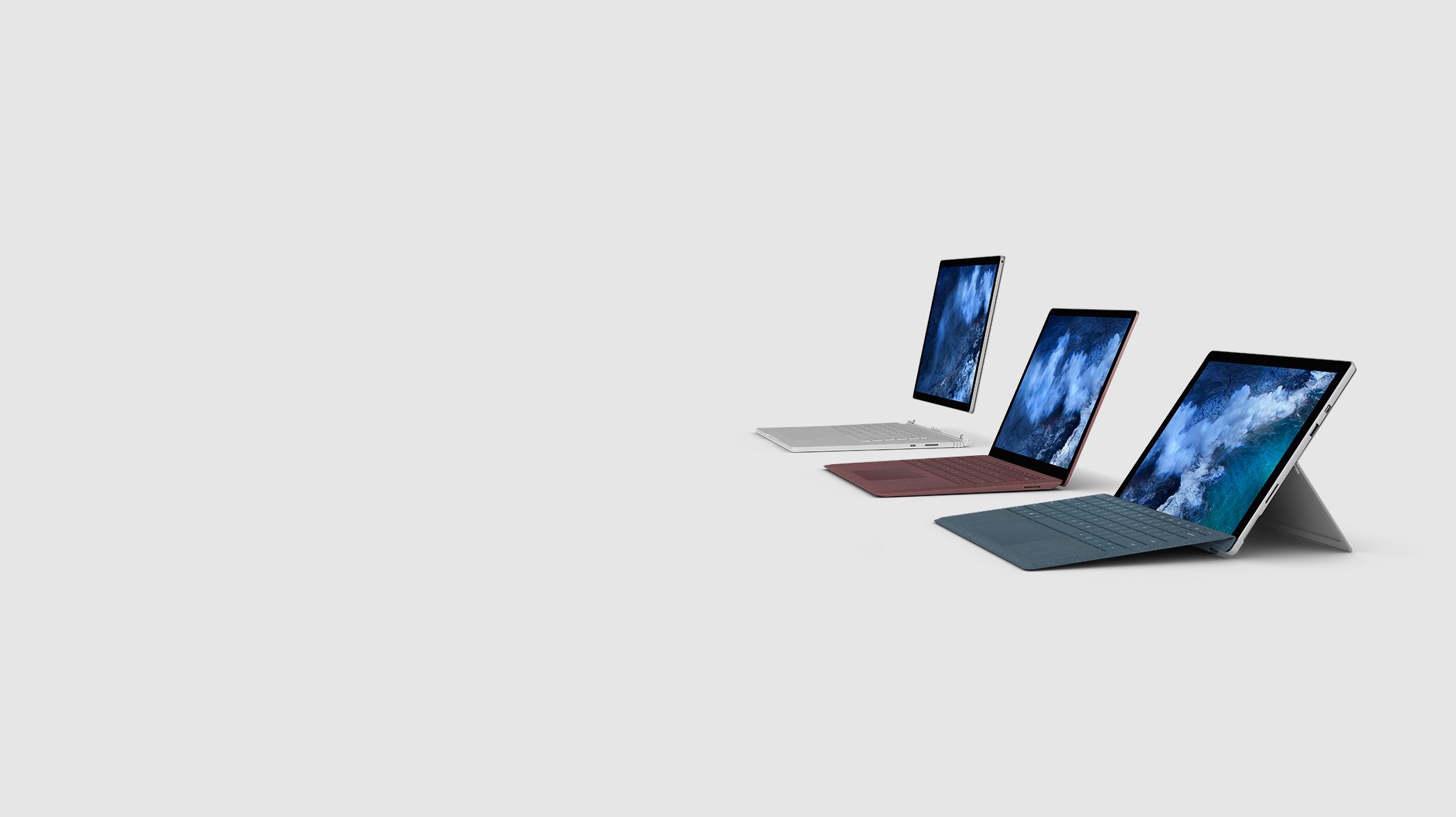 Surface Book2, Surface Laptop 2 en Surface Pro 6