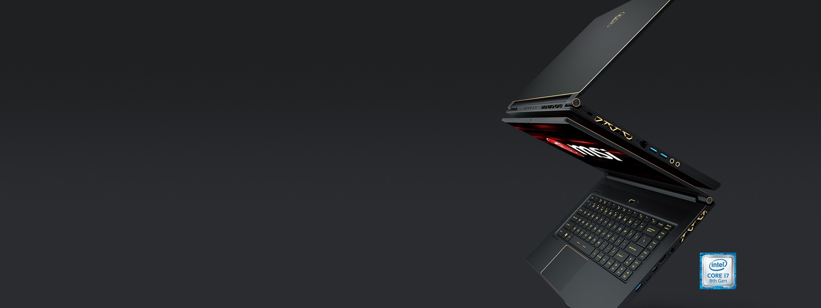 An MSI Stealth GS65 laptop on a dark background.