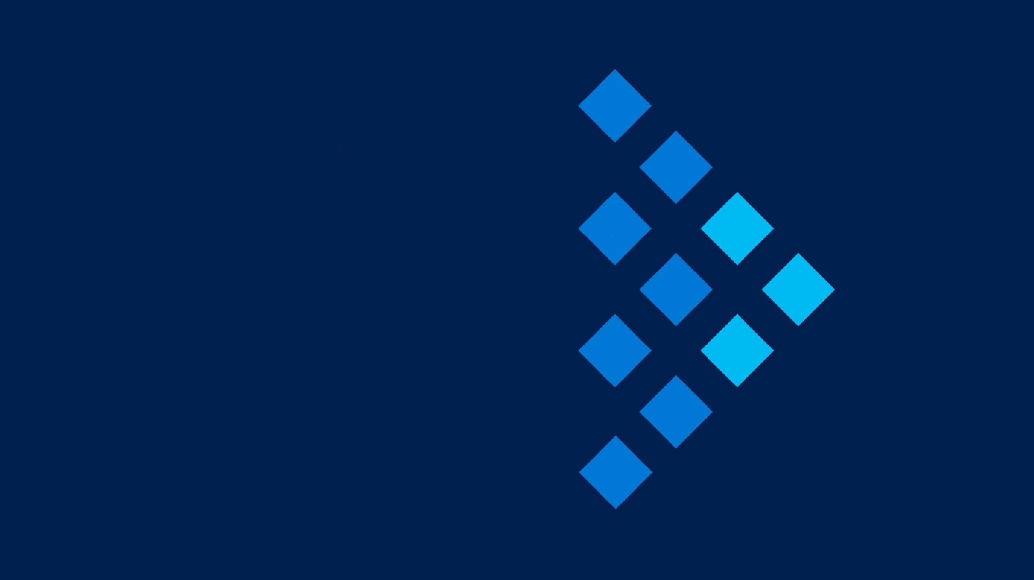 Ein dunkelblaues Bild mit 10 hellblaouen Quadraten
