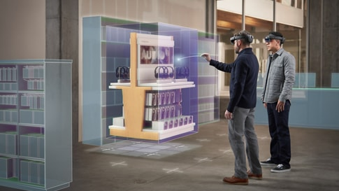 Visualisation of men interacting with products in a virtual showroom