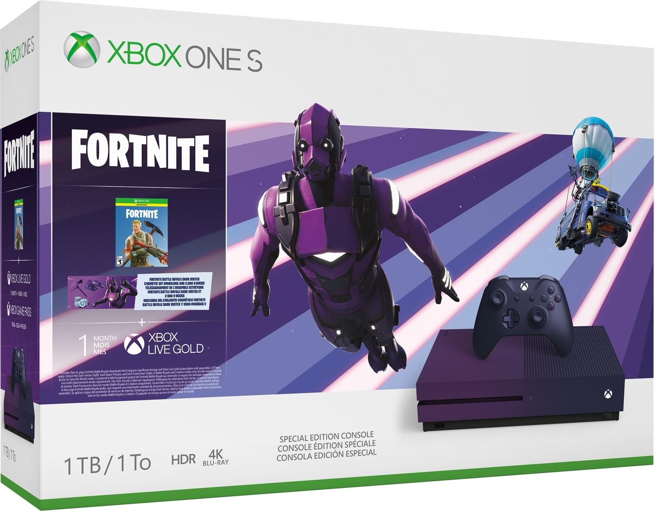 Xbox One S Fortnite Special Edition bundle box art