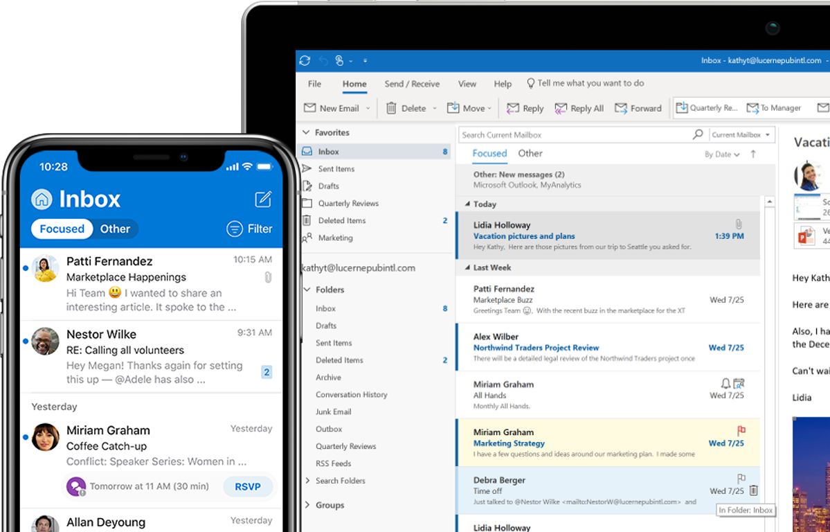Outlook Office online en una tableta y Messenger Outlook en un celular