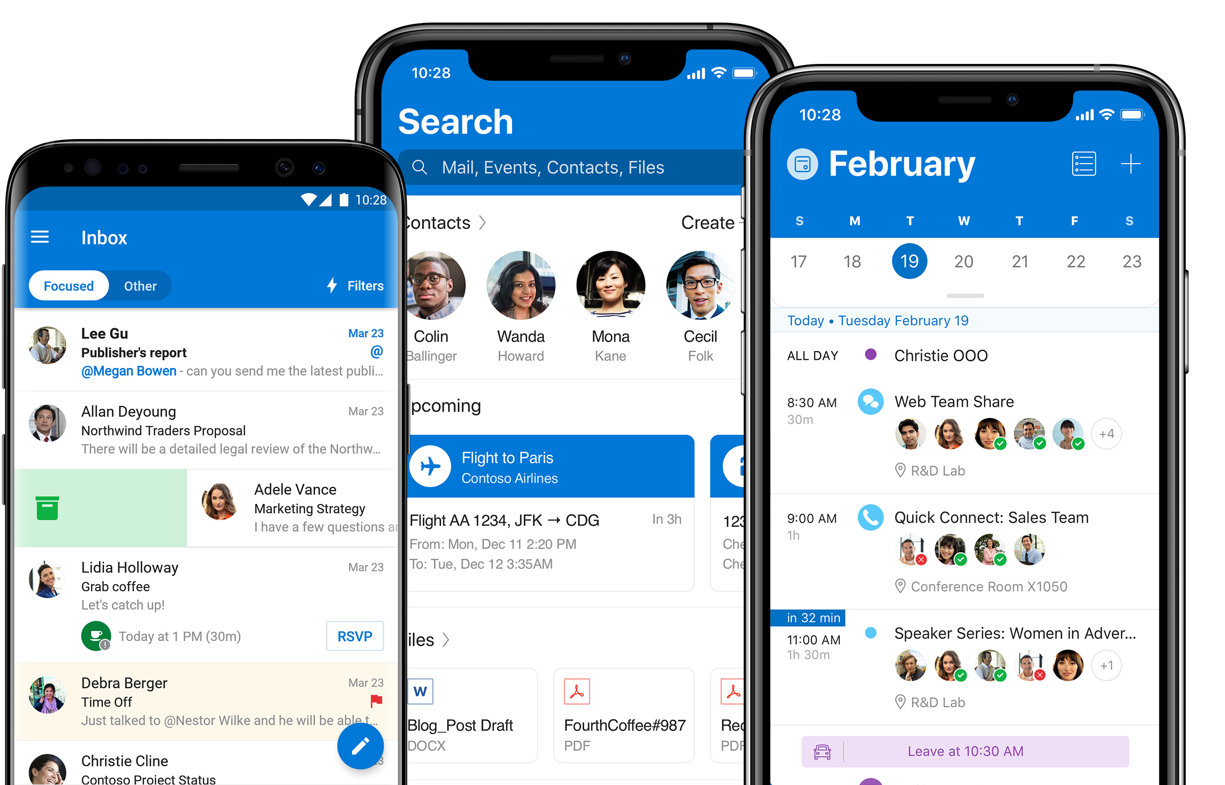 iPhone and Android phones displaying Outlook mobile email, calendar and search