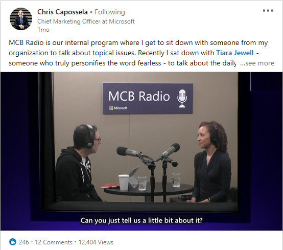 Twitter screen shot of Chief Marketing Officer Chris Capossela and employee Tiara Jewell during a live broadcast of MCB Radio.