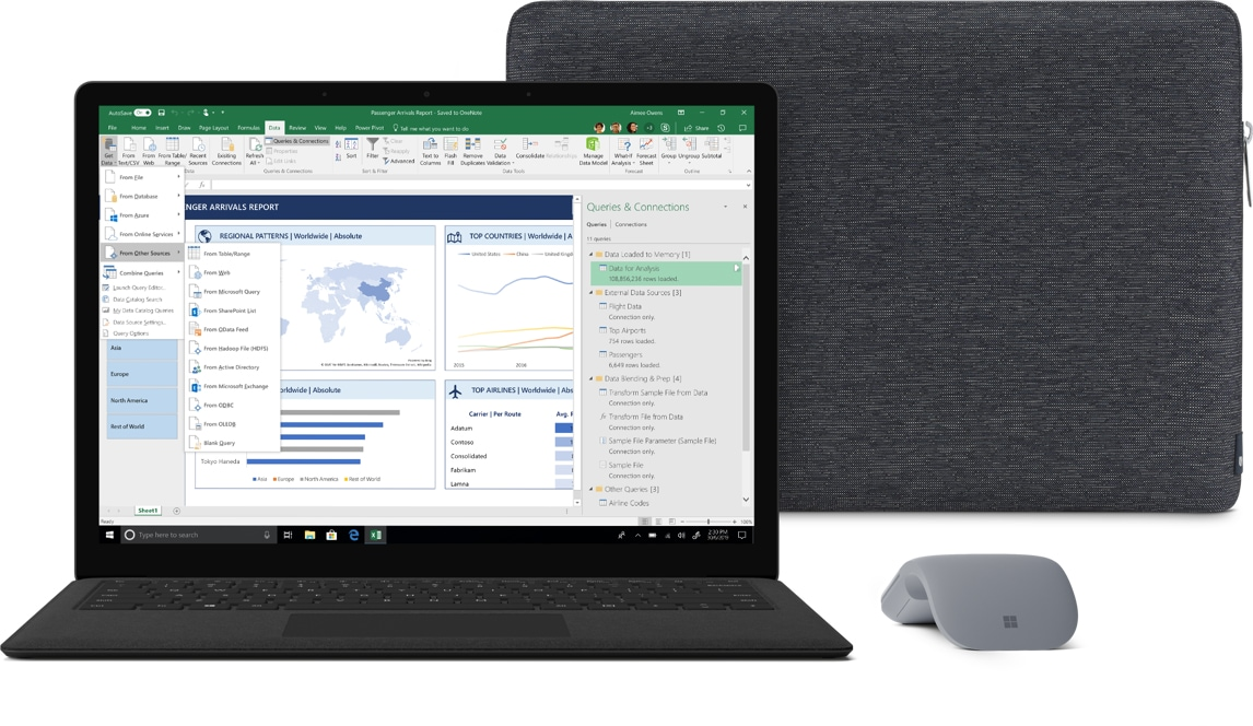 Surface Laptop 2 for Business with Sleeve and Surface Arc Mouse