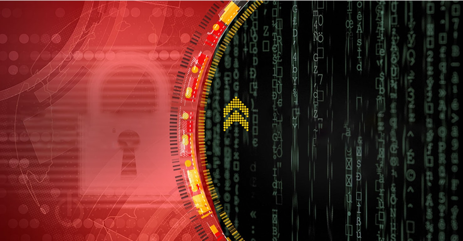 Graphic illustration used in Infosecurity Europe event communications. It is composed of multiple elements including red and black bands divided by concentric circles, an image of a lock, lines of code, and arrows.