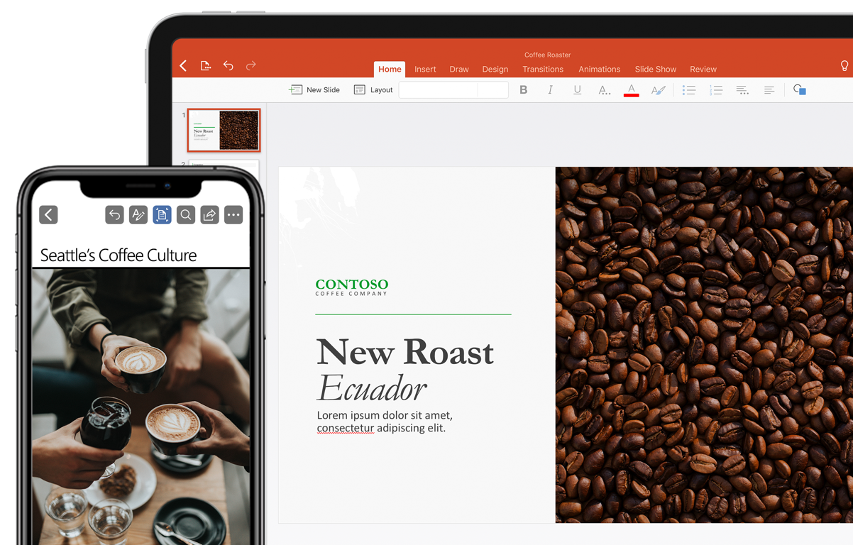 An iPad and an iPhone displaying a coffee presentation in PowerPoint for iOS