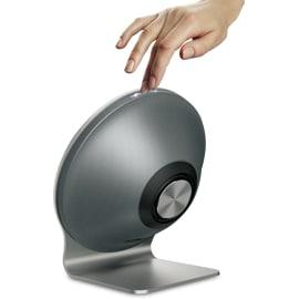 Person powering up Epsilon Soundstream Sound Dish - Home Audio Speaker