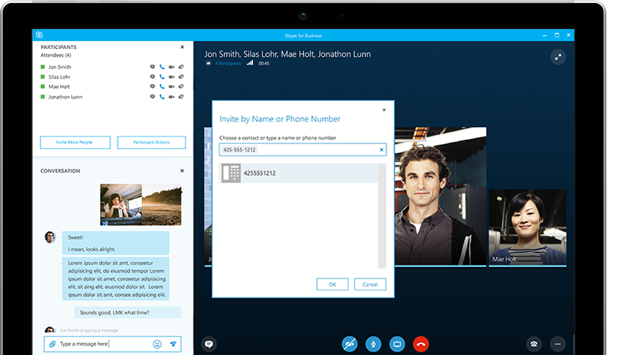 Tablet screen showing Skype for Business