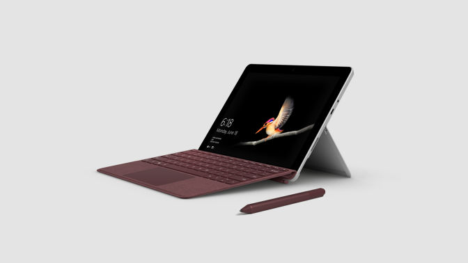Surface Go at an angle with a Surface Pen