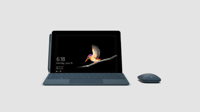 Front view of Surface Go and Surface Mobile Mouse