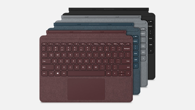 A Burgundy, Cobalt Blue, Platinum, and Black Surface Go Type cover