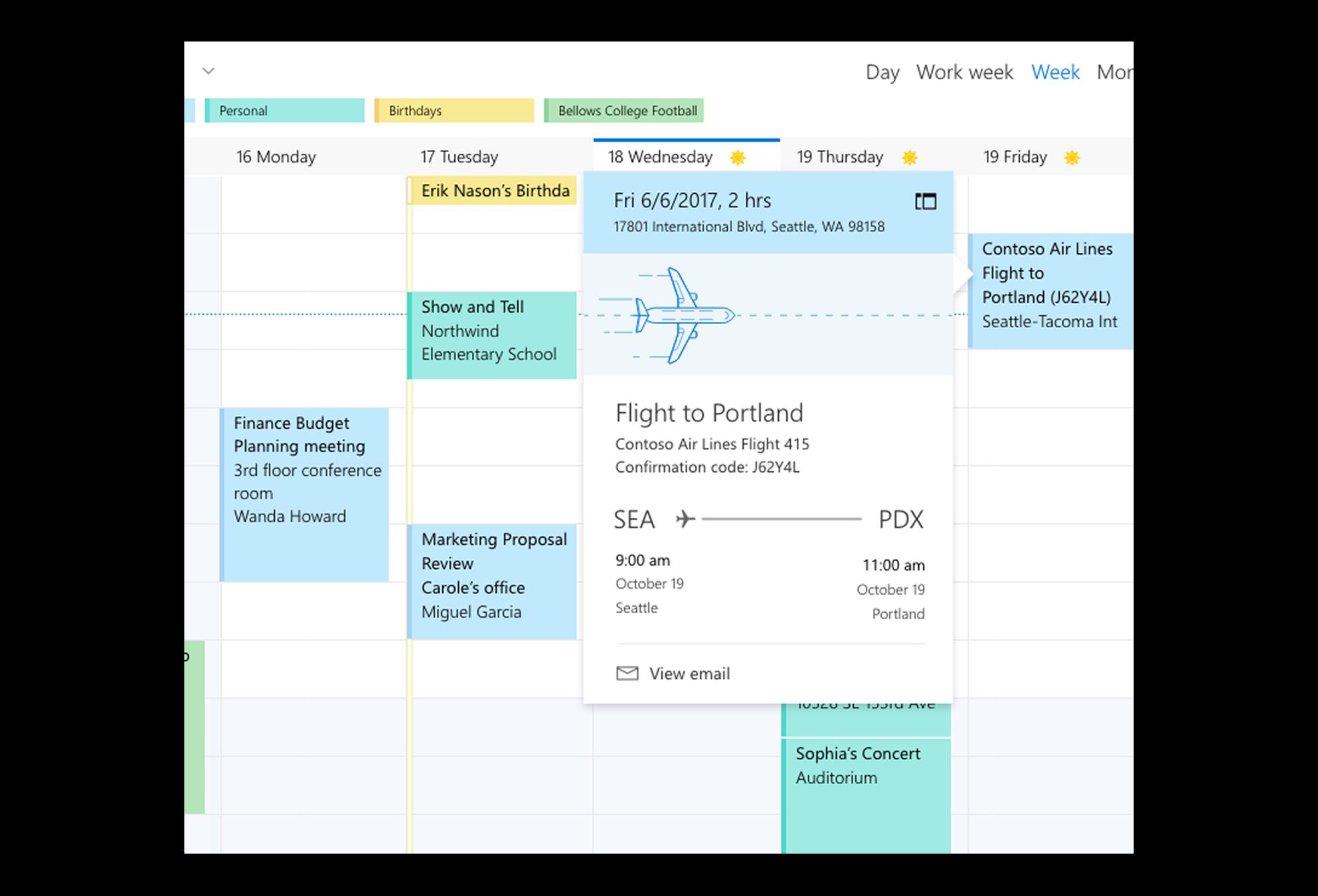 Partial screenshot of an Outlook calendar showing a preview of a calendar event