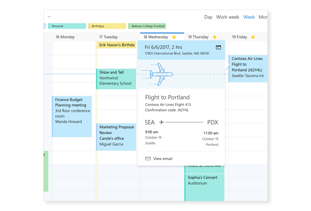 An Exchange calendar that shows flight details and other appointments and events