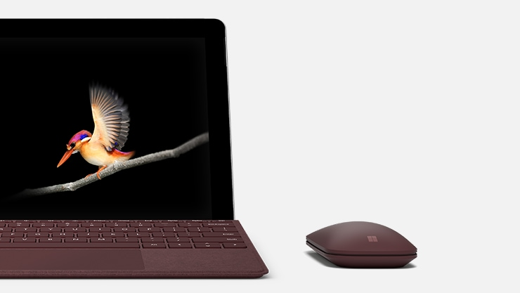 A Surface Go with a Burgundy Surface Go Type cover and Burgundy Surface mobile mouse