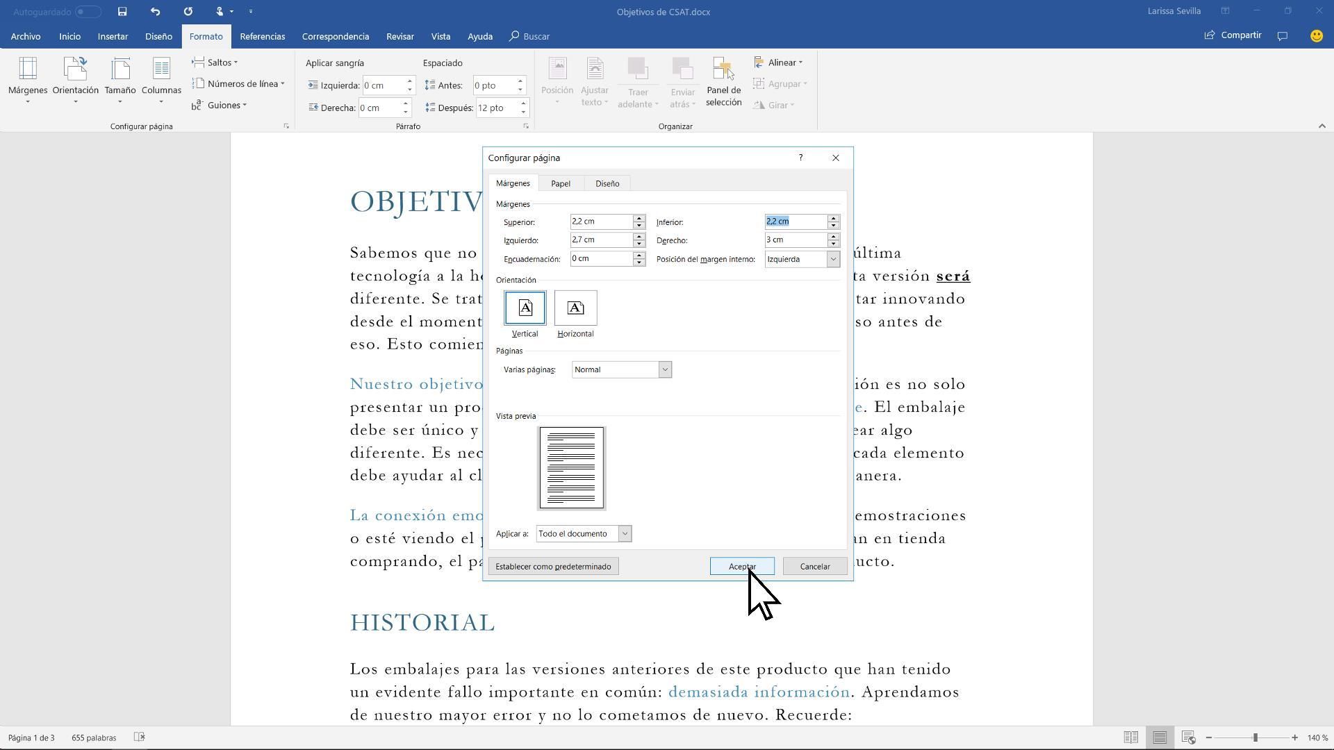 Vídeo: Cambiar los márgenes de un documento - Word