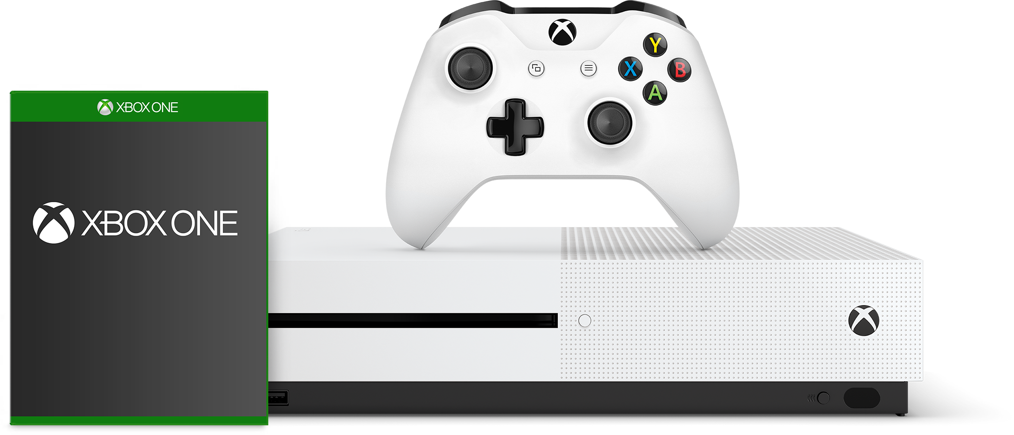 Xbox s white with a controller and generic game