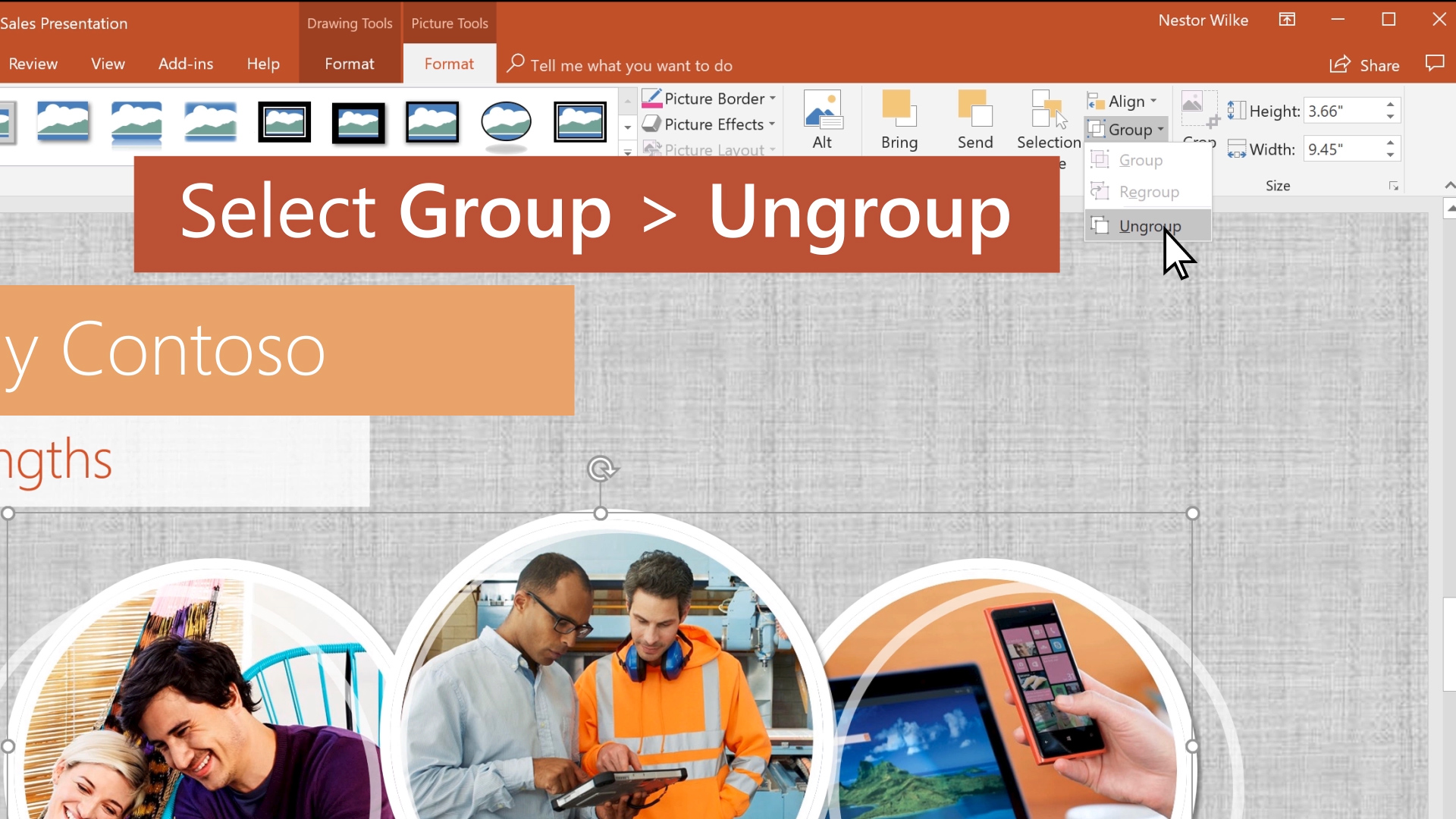 Create, merge, and group objects on a slide
