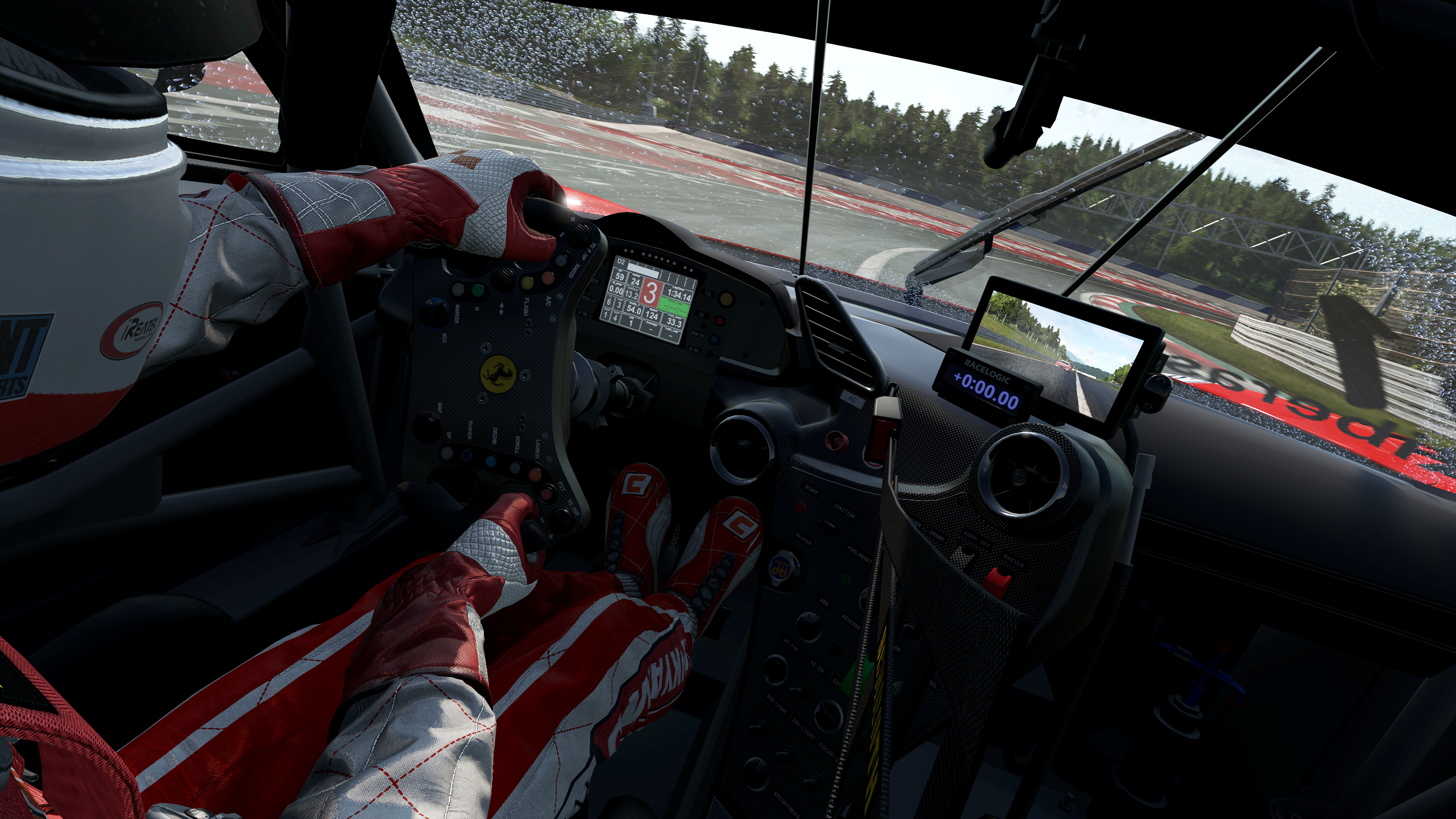 Play Inside View Of A Ferrari Racecar And Driver On Racing Track In The Rain