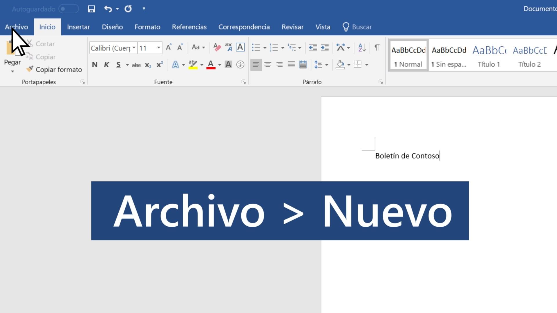 Vídeo: Crear un documento - Word