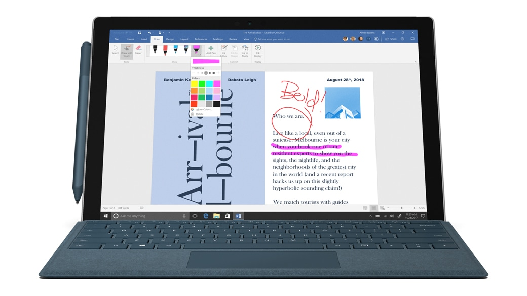 a surface pro device showcasing inking in word