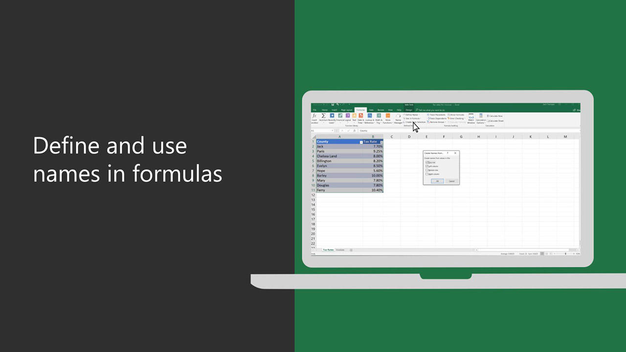 Video Define And Use Names In Formulas Excel