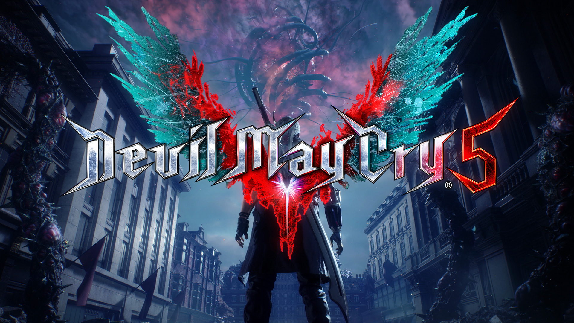 Play; Devil May Cry 5, Nero looking down a city block