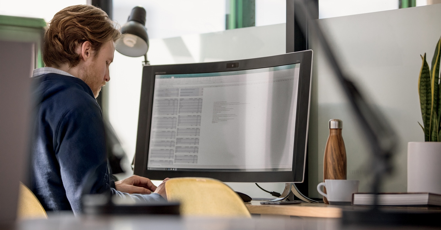 A person working at a desk in an office