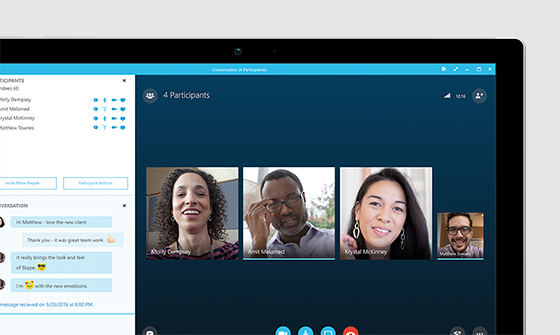 Four people in a Skype for business videoconference