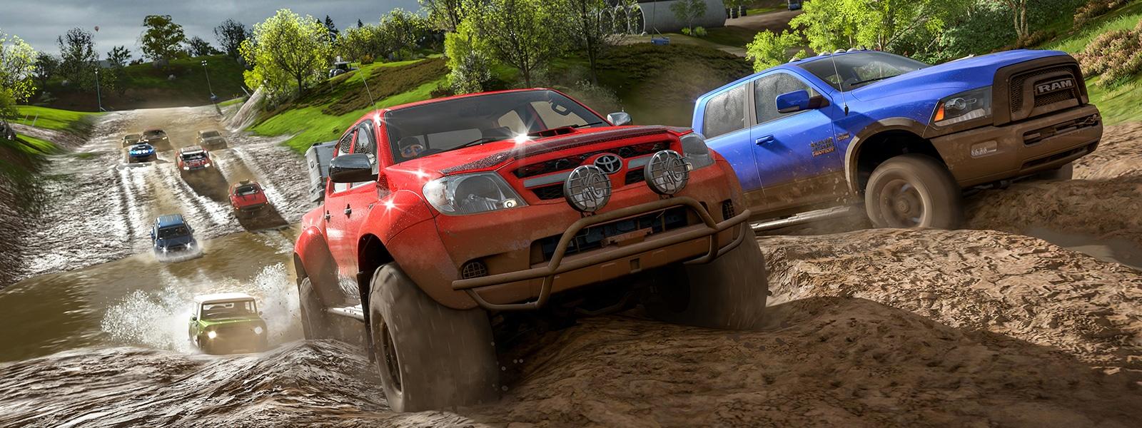 Trucks racing through the mud in Forza Horizon 4