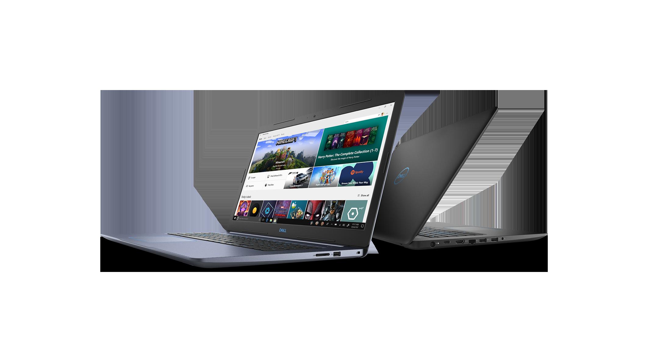 Vue avant gauche et vue arrière droite de l'ordinateur portatif de jeu Dell Inspiron