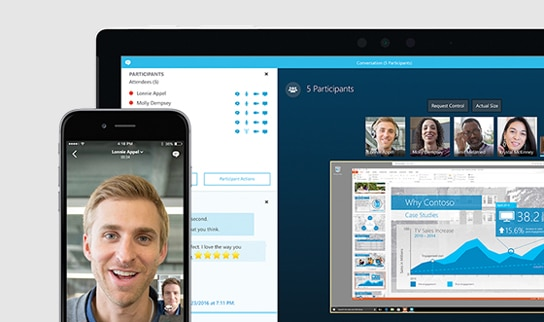 Crop of phone and laptop engaging through Skype video conference.