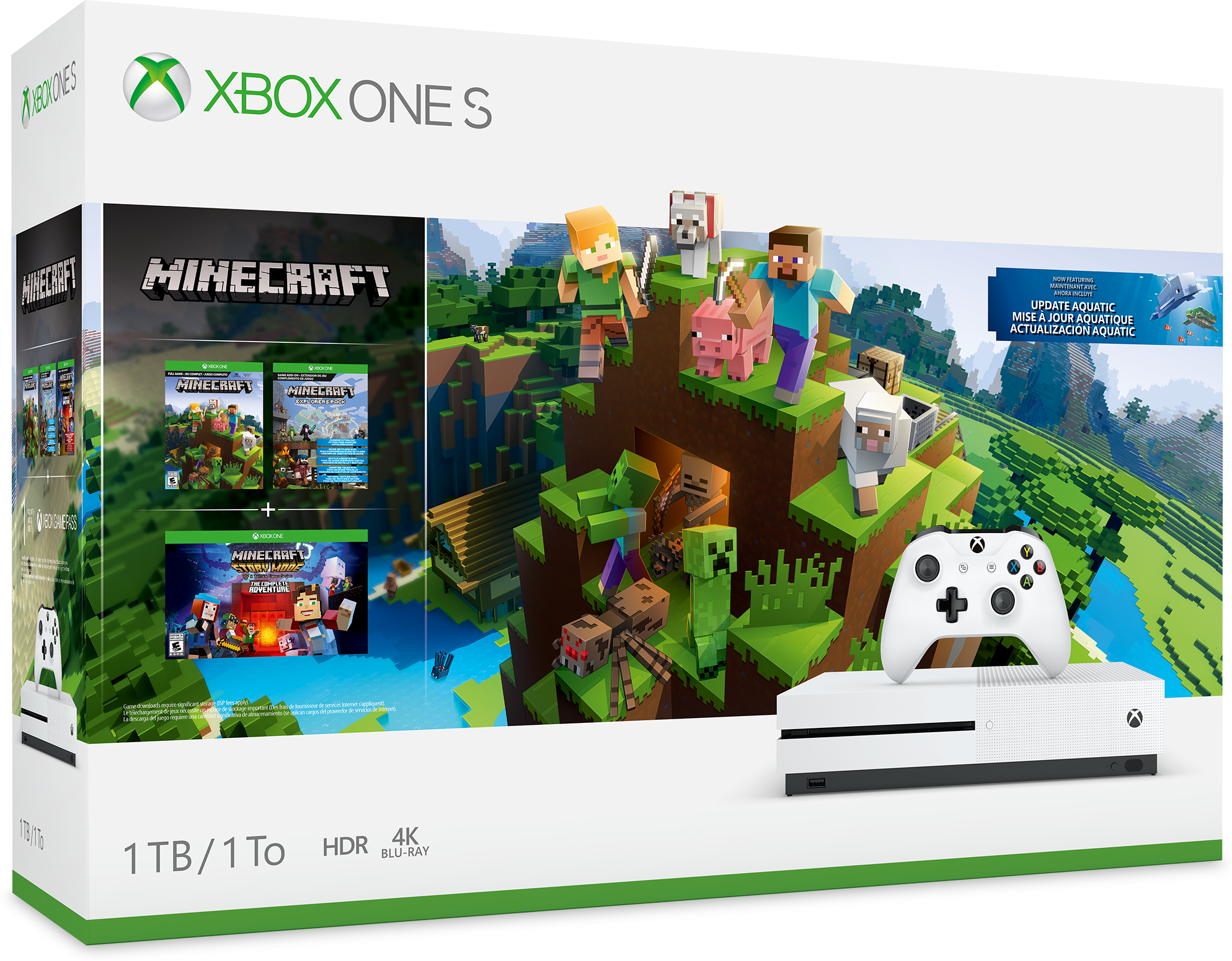 Image of Console Xbox One S da 1 TB: pacchetto Minecraft